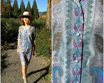 60s 70s Vintage Dress by Alfred Shaheen / Periwinkle Purple Paisley Print Signed Shirtdress with Sheer Sleeves