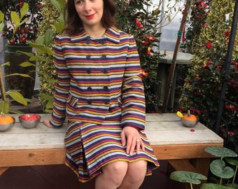 60s Striped Skirt Suit / Vintage Jacket & Midi Skirt Set / 1960s Blazer Red White Navy Yellow Stripes / Women's Size Medium