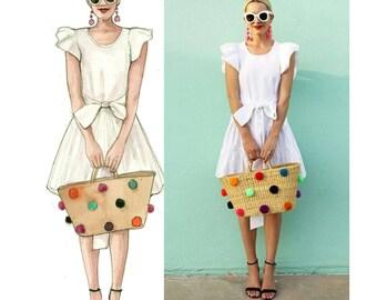 Custom fashion illustration ,Fashion illustration , gift for her