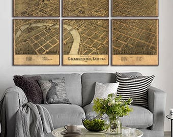"Columbus oh map 1872,Antique Columbus Map,old Columbus map,vintage map reprint,6 large/XL sizes up to 54""X 36""- in original or blue or black"