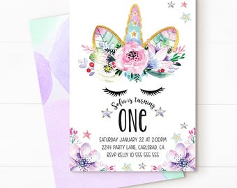 Unicorn birthday invitation, unicorn invitation, magical invitation, Unicorn Party, unicorn birthday, magical unicorn, Unicorn Purple