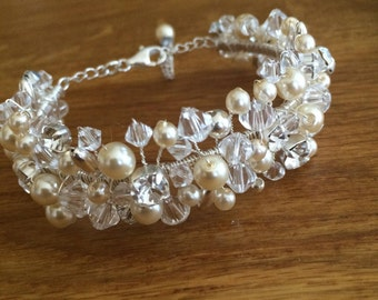 Swarovski crystal and pearl wedding cuff bridal bracelet with diamantes white or cream wire work bangle statement wedding jewelry jewellery