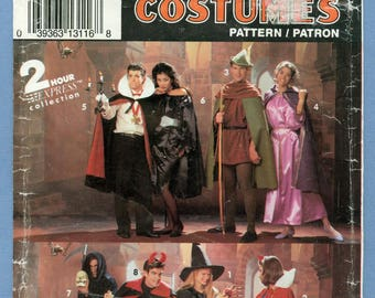 1992 Men's, Misses' or Boy's Costumes with Cape, Robe, Tunic UC FF Size Small,Medium,Large - Simplicity Costumes Sewing Pattern 0636