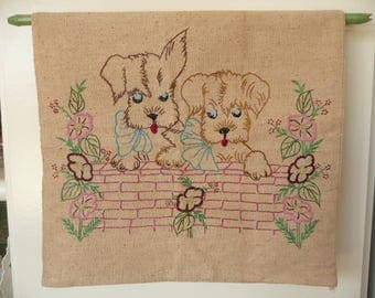 """Adorable Puppy Dog PiLLow CASE! Vintage/Hand EMBROIDERED Cover! 16 x 16"""" Throw Pillow/Doggies/Hand Sewn/NOS/Sweet & SHabby! FrEE ShiPPing!"""