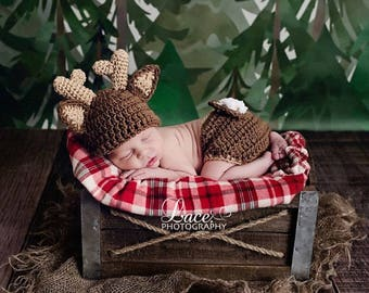 Baby Deer Hat with Diaper Cover Crochet Deer hat and Diaper Cover  Baby Animal outfit Dark Brown Deer Outfit