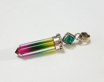 Fire Opal, Rainbow Quartz, Multi Color, Crystal, Point, Pendant, .925 Sterling Silver, Necklace, Focal, Beading, Jewelry, Supplies, Supply
