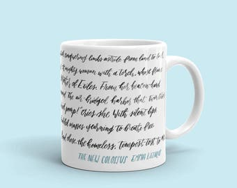 Poem Mug, The New Colossus, Give Us Your Poor, Tired, Hungry, Statue of Liberty, Citizenship Gift, Coffee Mug, Immigration, Naturalization
