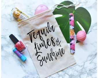 Tequila Limes and Sunshine, Bachelorette Party Favor, Bachelorette Party Favor Bag, Bachelorette Party Gift, Fiesta Bachelorette Party