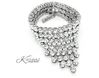 CRYSTAL WATERFALL KDS™ 2017 Bold Statement Bracelet 6mm Swarovski Crystal *Antique Silver *Karnas Design Studio™ Free Shipping