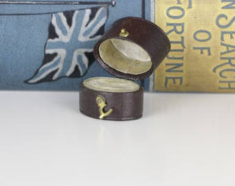 Ring Box Victorian Antique Brown with Clasp and cream interior Antique