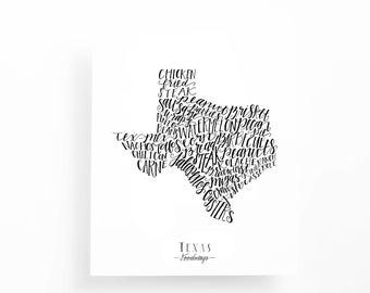 Texas Foodways Print, 8x10 Calligraphy Print