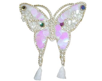 XXL Extra Large 22cm Beautiful Butterfly Pearls Tassels Diamonds Patch Badge Applique