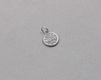 Silver lotus pendant etsy 13mm sterling silver lotus pendants 925 silver charms wholesale for bridesmaid gift party yx mozeypictures Image collections