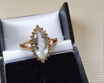 Vintage Aquamarine and Diamond Marquise-shape Ring