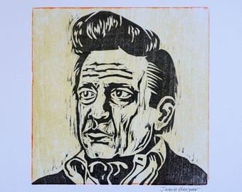 Johnny Cash Letterpress Print - Pale Yellow with Bright Orange Edging