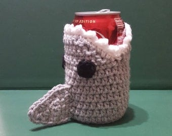 Crochet Can Cozy // Shark // Ready To Ship