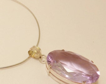 Sterling Silver Large Amethyst Color Faceted Glass Pendant Necklace
