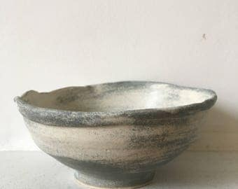 Clouds of Consciousness Bowl - Grey and soft white, wheel thrown stoneware, hand painted, one of a kind, studio ceramics