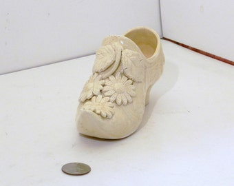 Yellow Flowered Majolica Shoe
