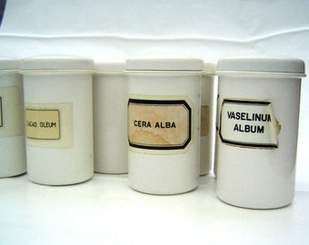 Fifties early plastic apothecary containers set of 10