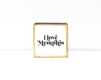 I love Memphis black and white serif typography image transfer mini block wood art paperweight office desk decor