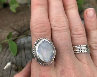 Moonstone wildflower ring, moonstone ring, metalwork ring (seconds)