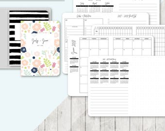 TN A6 Size: 2017 - 2018 Month on 2 Pages, Printable Travelers Notebook Insert, A6 Tn, Printable Planner, Monthly, Mo2P - Classic Series