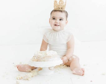 Quinn Birthday Crown Silver or Gold - Headband - Birthday Crown - Lace - Cake Topper - Mini - Tiara - Party - Baby - Toddler - Cake Smash