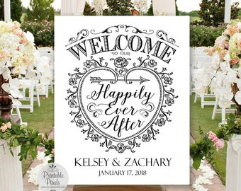 Welcome To Our Happily Ever After Printable Wedding Sign, Black Lettering, Personalized with Names and Date (#WEL3B)