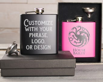 Custom Flask, Engraved Flask, Personalized Flask, Hip Flask, Gift For Boyfriend, Drink Flask, Etched Flask, Best Man Gift, Groomsmen Gift