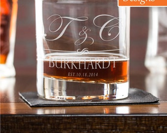 Etched Whiskey Glass, Birthday Gift For Him, Whiskey Glass, Personalized Gift, Monogram Whiskey Glass, Bourbon Glass, Wedding Whiskey Glass
