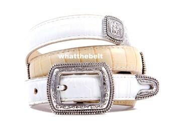 Vintage Belt Brighton Off White Tan Green  Silver Buckle Ranger Set Conchos Small