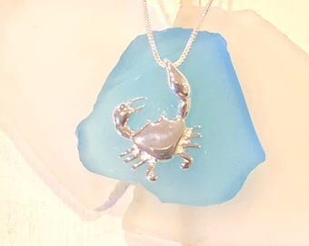 Crab pendant- Sterling Silver Pincher crab  dangling by claw-- Silver crab necklace  sterling Silver