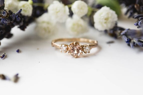 Morganite and rose gold twig engagement ring, twig nature moissanite morganite ring, three stone ring, 14k gold engagement ring