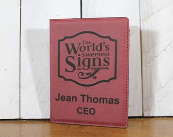 Passport Holder/Leatherette/Rose Pink/Personalized/Business Logo/Engraved