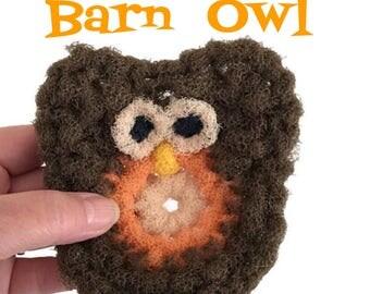 Barn Owl Dish Scrubbies, 2 Through 6 Brown Crochet Scrubbie, Kitchen Dish Scrubber, Pot Scrubber, Handmade Scrubber, Kitchen Scrubbie, Gift