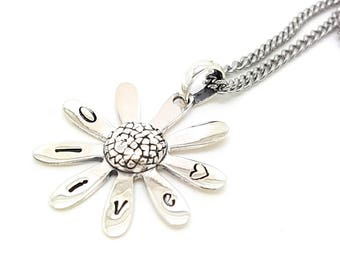 Personalised Jewellery, Personalised Necklace, Family Necklace, Hand stamped daisy pendant  sterling silver, Friend Necklace