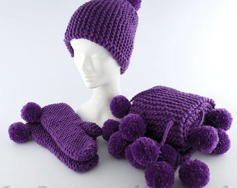 Handmade knitted hat scarf and mittens with pom pons, wool beret, winter hat, winter beret, knitted beret, wool scarf.