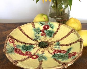 Basket Weave Majolica Floral Compote, Majolica Footed Bowl, Yellow Centerpiece Bowl