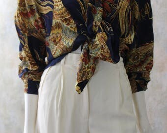 STUNNING Vintage Regina PORTER Silk PHEASANT Quail Blouse Top S M
