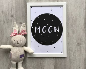 Children's Print - Moon Print A4   Nursery Print