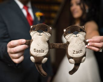 Gift for the Bride, Otters Holding Hands, Otter Plush, Personalized Gift for Fiance, Otter Easter Gift, Anniversary Gifts for Couples