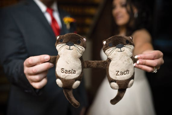 Gift for the bride otters holding hands otter plush like this item negle Choice Image