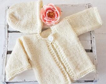 Newborn Baby Cardigan Set, baby beanie, Ready to ship, Baby sweater, newborn sweater, newborn jersey, knitted baby gift, baby shower gift