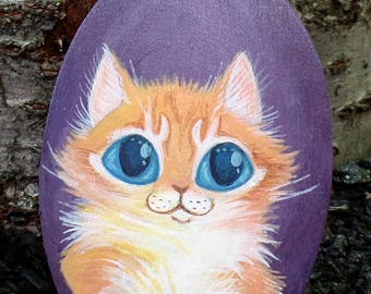 Fluffy Orange Kitten Original Cat Painting