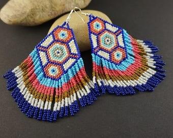 4th July Aztec tribal earrings Boho earrings Chandelier earrings Dangle earrings Bohemian earrings Tribal jewelry Beaded earrings Ethnic