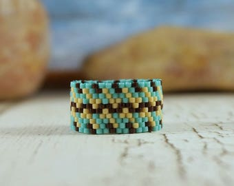Blue Beaded ring Statement ring Boho ring Peyote stitch ring Beading rings Casual ring Everyday ring Artisan ring wide band seed bead ring