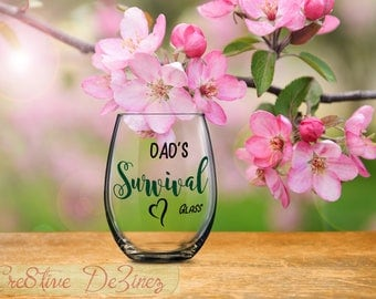 Funny Gift for Father, Dad's Survival Glass, Funny Father Anniversary Birthday Present, Gift for Papa, Holiday Present for Dads