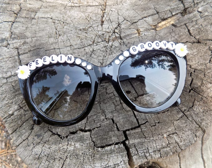 Feelin' Groovy hand decorated sunnies, sunglasses inspired by Simon and Garfunkel, Grateful Dead, the perfect festival shades!