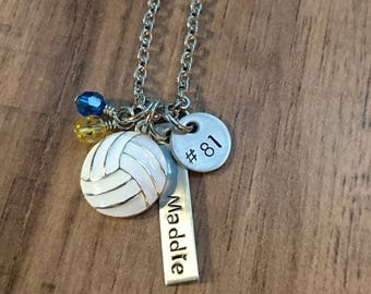 Hand Stamped Personalized Volleyball Necklace - Girls Volleyball gift - Volleyball Gifts - Team Colors